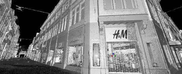 's Nachts scannen gevel winkel pand