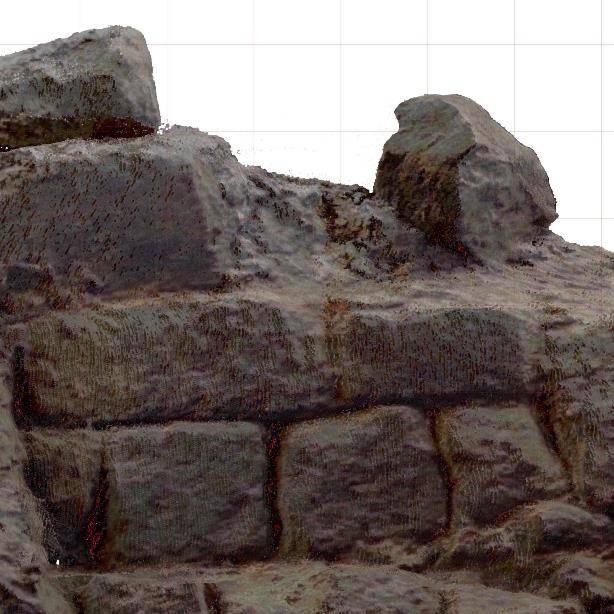 Detail van orthogonaal aanzicht Romeinse muur